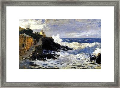 Onde Di Mare O Mareggiata Sulla Costa Ligure Framed Print by Andrea Figari