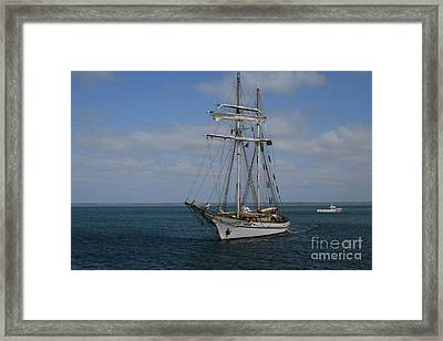 Framed Print featuring the photograph Approaching Kingscote Jetty by Stephen Mitchell