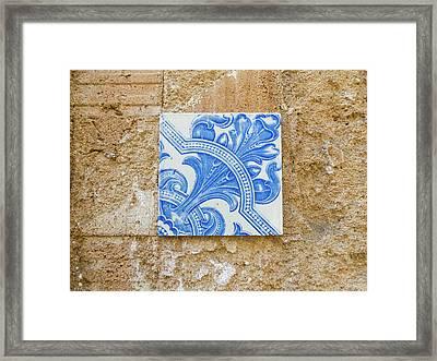 One Blue Vintage Tile  Framed Print