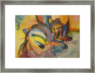 One Cat Squared Framed Print by Sandra Taylor-Hedges
