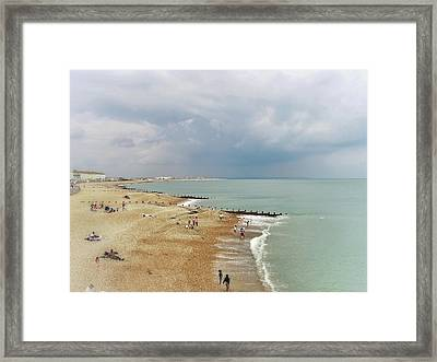 One Cool Beach Day  Framed Print by Connie Handscomb