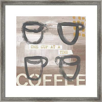 One Cup At A Time- Art By Linda Woods Framed Print by Linda Woods