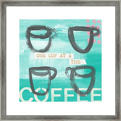 One Cup At A Time In Blue- Art By Linda Woods Framed Print