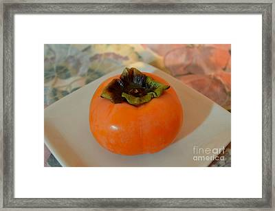 One Delicious Fuyu Persimmon Framed Print by Mary Deal