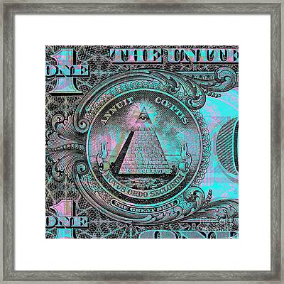 Framed Print featuring the digital art One-dollar-bill - $1 - Reverse Side by Jean luc Comperat