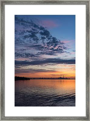 One Fine View - Rainbow Colored Skies Over Toronto At Dawn Framed Print
