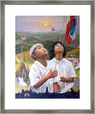 Framed Print featuring the painting One Heart Of Thailand by Chonkhet Phanwichien