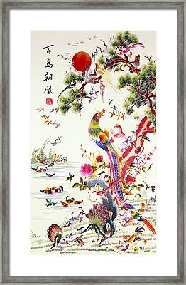 One Hundred Birds With A Phoenix, Canton, Republic Period Framed Print by Chinese School