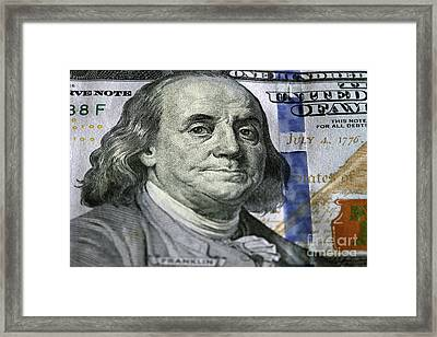 One Hundred Dollar.focus On Benjamin Franklin Framed Print by Michal Bednarek