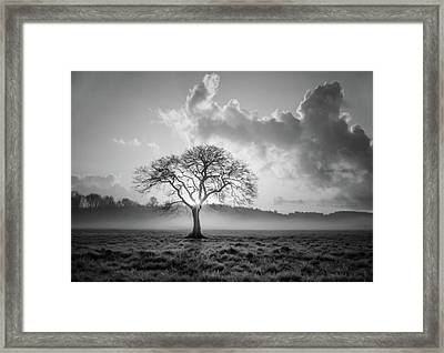 One Is A Lonely Number Black And White Framed Print