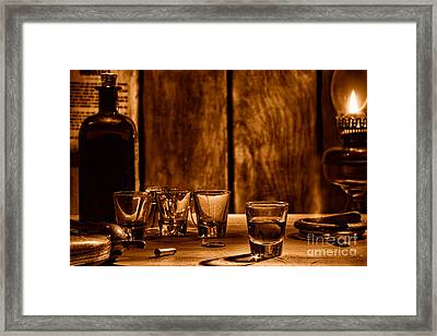 One Last Drink - Sepia Framed Print by Olivier Le Queinec