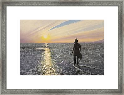 One Last Paddle Framed Print by Paul Newcastle