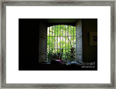 One Lazy Sunday Afternoon By The Window Framed Print by Dindin Coscolluela