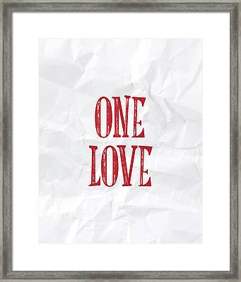 One Love Framed Print by Samuel Whitton