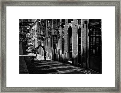 One Man And His Dog. Bairro Alto. Lisbon Framed Print by Carol Japp