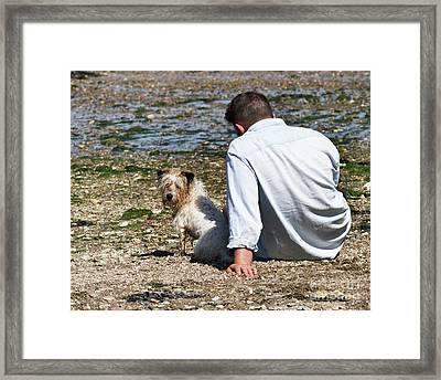 One Man And His Dog On The Beach Framed Print by Terri Waters