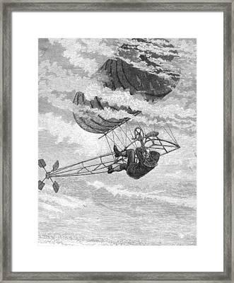 One-man Dirigible, 1878 Framed Print by Granger