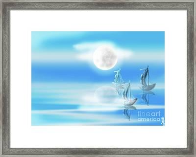 One Moon Light Sea Framed Print by Artist Nandika Dutt