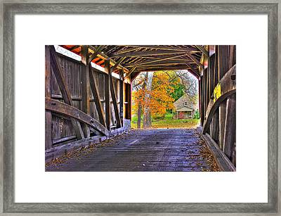 One More Bridge To Cross, Then Home - Poole Forge Covered Bridge No. 6a - Lancaster County Pa Framed Print by Michael Mazaika