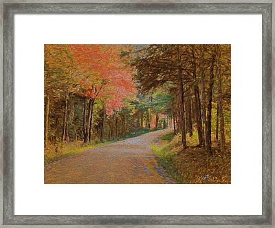 Framed Print featuring the digital art One More Country Road by John Selmer Sr