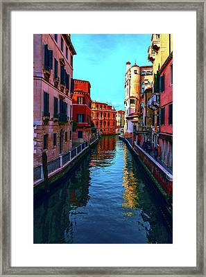 one of the many beautiful old Venetian canals on a Sunny summer day Framed Print