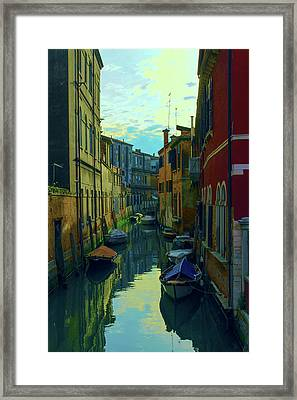 one of the many Venetian canals at the end of a Sunny summer day Framed Print