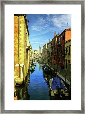 one of the many Venetian canals on a Sunny summer day Framed Print