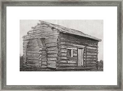 One Room, One Window, Dirt Floor Log Framed Print by Vintage Design Pics
