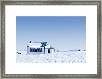 One Room Rural School Blue Toned Framed Print by Donald  Erickson