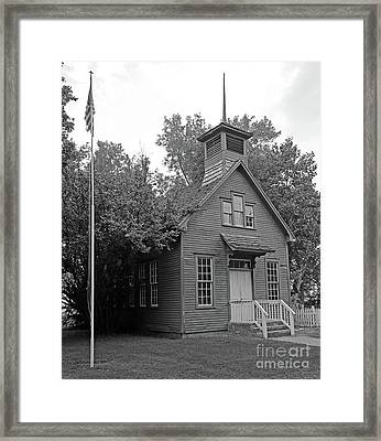 One Room Schoolhouse Black And White Framed Print