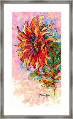 One Sunflower Framed Print by Marion Rose