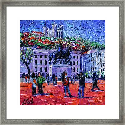 One Tuesday In Lyon - Palette Knife Oil Painting Framed Print