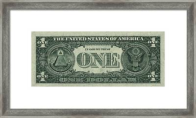 One U. S. Dollar Bill Reverse Framed Print by Serge Averbukh