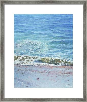 Framed Print featuring the painting One Wave by Martin Davey