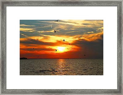 Oneida Lake Sunset Framed Print