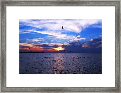 Oneida Lake Sunset Viii Framed Print