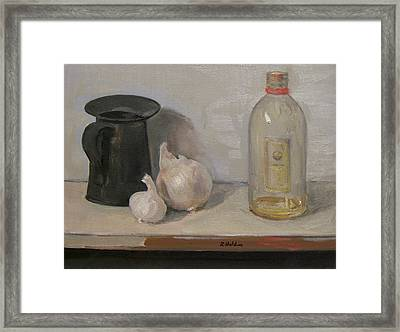 Onion And Garlic,tin Can, And Painting Medium Bottle Framed Print