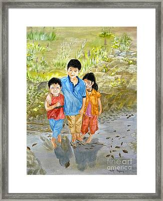 Framed Print featuring the painting Onion Farm Children Bali Indonesia by Melly Terpening