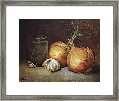 Onions And Garlic  Framed Print by Alex Loza