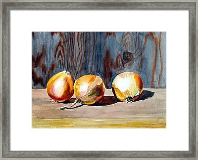 Onions In The Sun Framed Print by Anne Trotter Hodge