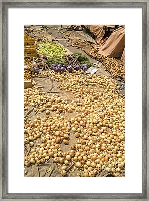 Onions On Display At A Farmer's Market In Spain Framed Print