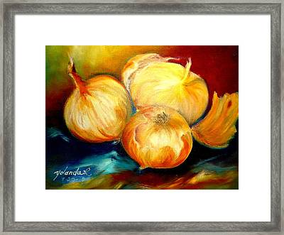 Framed Print featuring the painting Onions by Yolanda Rodriguez