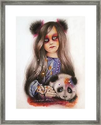 Framed Print featuring the drawing Only Friend In The World - Panda Precious by Sheena Pike
