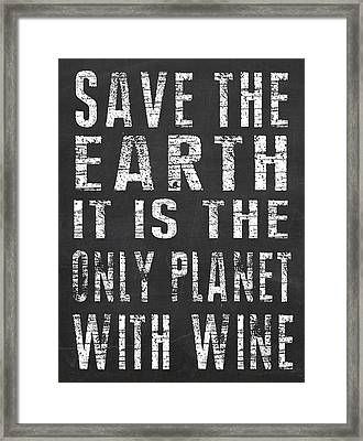 Only Planet With Wine Framed Print by Jaime Friedman