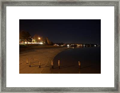 Framed Print featuring the photograph Onset Beach At Night by Greg DeBeck