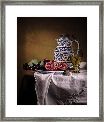 Ontbijt With Pommegranate Grapes Roemer And Jug Framed Print