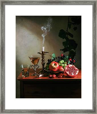 Ontbijtje With Pommegranate-candle-glassware And Fruits Framed Print
