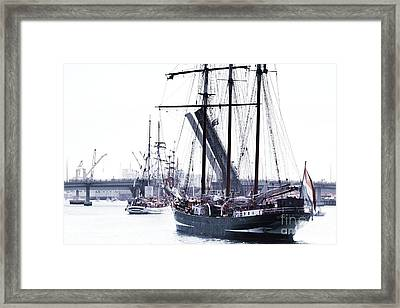 Framed Print featuring the photograph Oosterschelde Leaving Port by Stephen Mitchell