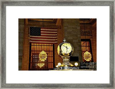 Opal Atomic Clock At Grand Central Framed Print by Jacqueline M Lewis