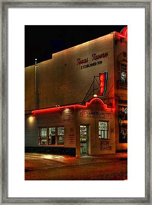 Open All Nite-texas Tavern Framed Print